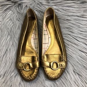 Coach Metallic Gold Leather Orchid Flats